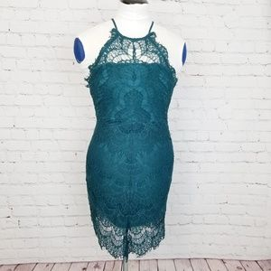 Free People Lace Halter Mini Dress in Green Lace